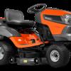 Oranžs Husqvarna zāles pļāvējs traktors, modelis ''TC 242T', skats no priekšas labās puses