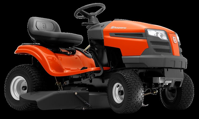 Oranžs Husqvarna mauriņa traktors, modelis ''TS 138'', skats no priekšas labās puses