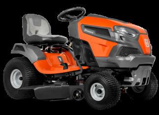 Oranžs Husqvarna mauriņa traktors, modelis ''TS 142TX'', skats no priekšas labās puses