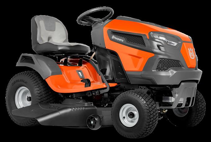 Oranžs Husqvarna mauriņa traktors, modelis ''TS 146TXD'', skats no priekšas kreisās puses