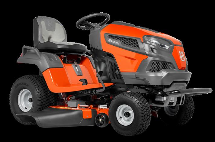 Oranžs Husqvarna zāles pļāvējs traktors, modelis ''TS 242TXD'', skats no priekšas labās puses